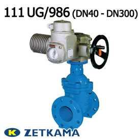 Задвижка чугунная с обрезиненным клином под электропривод тип 111 UG/986 DN40 – DN300 (Zetkama)
