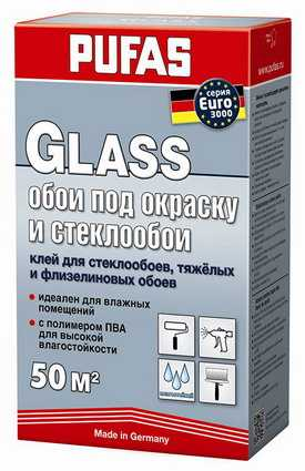 Клей PUFAS EURO 3000 GLASS Обои под окраску и стеклообои