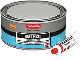 Шпатлевка со стекловолокном FIBER MICRO (1 кг), NOVOL
