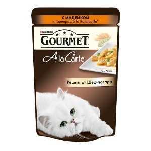 Влажный корм Gourmet A La Carte c индейкой и гарниром à la Ratatouille, зеленым горошком и морковью 85гр