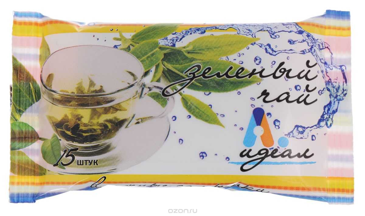 Салфетки влажные Идеал Зеленый чай, гигиенические, 15 шт