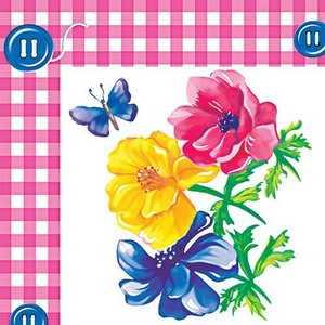 Салфетки 33х33 20листов 2-слойные (Цветок с пуговкой) Россия
