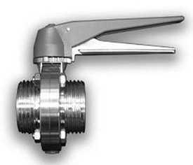 Затвор дисковый с ручным управлением или пневмоприводом DIN/SMS (резьба/резьба)