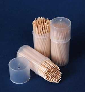 Зубочистки в пластиковом бочонке (100 шт.)