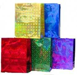 Пакет подарочный голографический 26x33x14 (LG301-305 Ассорти) АРТПЛАСТ