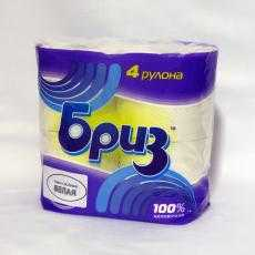 Бумага туалетная Бриз цветная двухслойная 4 рулона (целлюлоза) - АМИГУС