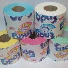 Бумага туалетная Бриз цветная двухслойная с втулкой 1 рулон (целлюлоза) - АМИГУС