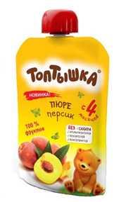 Пюре персиковое Топтышка, 90 грамм