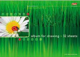 Альбом для рисования 32л А4 на скрепке выб лак серия Живые моменты