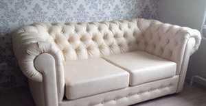 Диван АрЧестер со спальным местом в коже Белый глянец