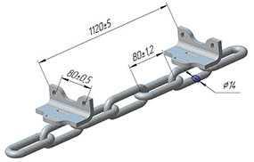 Цепь для скребковых цепных конвейеров с кронштейном