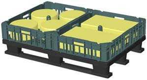 Пластиковый ящик с блоками сыра, установленный на европоддон