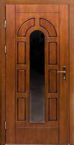 Входная дверь из массива с трехкамерным стеклопакетом модель 5