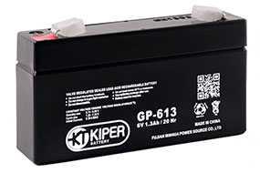 Аккумуляторная батарея 6V/1.3Ah Kiper GP-613 (F1); 97x56x24 (ШхВхГ)-Kiper (Китай)