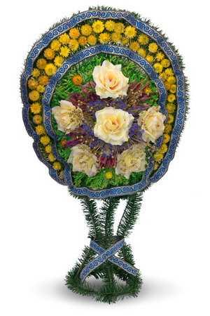 Корзина ритуальная из сухоцвета К-3 в упаковке