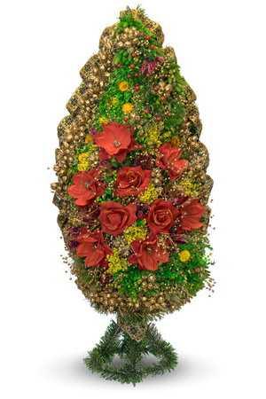 Корзина ритуальная из сухоцвета КВ-2а в упаковке