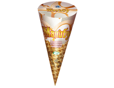 Мороженое Малибу с топпингом карамель