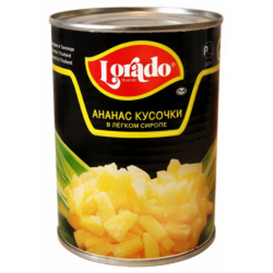 Ананас кусочки в легком сиропе Lorado 850 мл