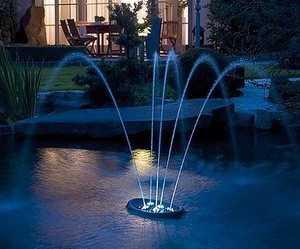 Фонтан плавающий Water Starlet, 12v, 5 струй с подсветкой белая, рег направление струй, высота 0,7м, каб 10м, 330*270*135мм