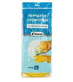 Перчатки хозяйственные латексные с хлопковым напылением Komfi