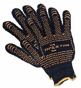 Перчатки х/б ПРАКТИК Лайт с вкраплениями точка, черные