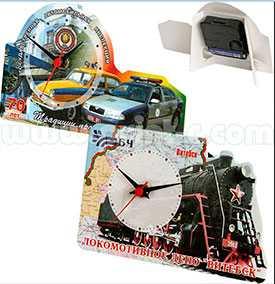 Часы сувенирные на подставке размер 105x165мм (фигурная вырубка)