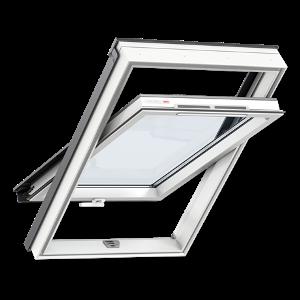 Мансардное окно VELUX OPTIMA (Велюкс Оптима) Комфорт GLP 0073BIS (ручка снизу, белый пластик) - VELUX