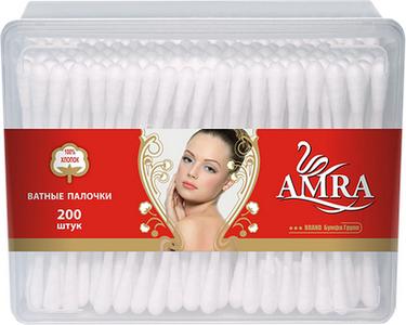 Ватные палочки прямоугольник AMRA 200 шт