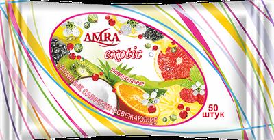 Салфетки влажные AMRA EXOTIC освежающие с ароматом, 50 шт - AMRA (Россия)
