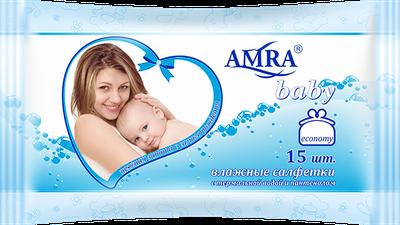 Салфетки влажные для детской гигиены AMRA с термальной водой 15 шт