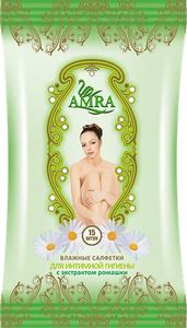 AMRA салфетки влажные для интимной гигиены c экстрактом ромашки 15 шт