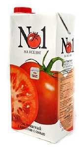 Сок №1 томатный с мякотью с солью восстановленный 1 л