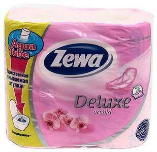 Бумага туалетная Zewa Deluxe Orchid розовая 4 рулона ширина 95 мм