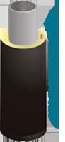 Предизолированная стальная труба в тепловой изоляции из пенополиуретана в полиэтиленовой оболочке диаметр 38