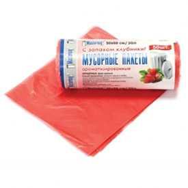 Пакет мусорный ПНД 50см х 60см в рулоне 50 шт 30л с запахом Клубники MasterBag