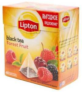 Чай Lipton ароматизированный в пирамидках 68 г Forest Fruit черный чай с кусочками ягод