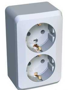 Розетка двойная Schneider Electric PA16-007 Этюд - 2 х 2К+З - белый - IP20
