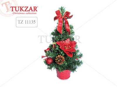 Елка декоративная с красными украшениями TUKZAR 30см артикул TZ 11135