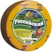 Сыр сычужный твердый Российский новый молодой 40%