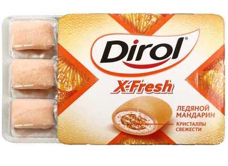 Жевательная резинка Dirol X-Fresh без сахара 18 г Ледяной мандарин