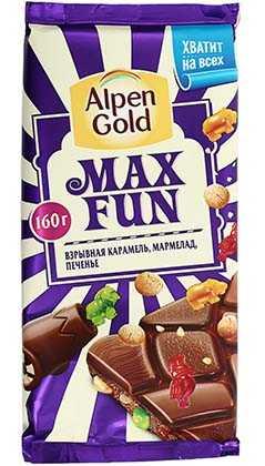 Шоколад Alpen Gold MaxFan с карамелью мармеладом и печеньем 160 г