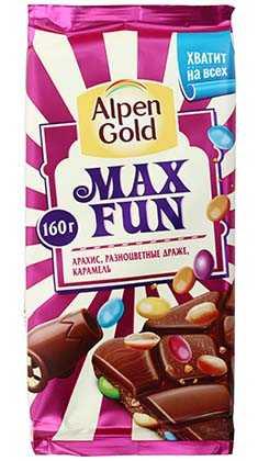 Шоколад Alpen Gold MaxFun с арахисом драже карамелью 160 г