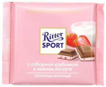 Шоколад Ritter Sport молочный шоколад с клубникой в йогурте 100 г