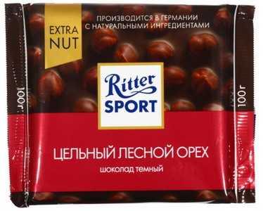 Шоколад Ritter Sport темный шоколад с цельным лесным орехом 100 г