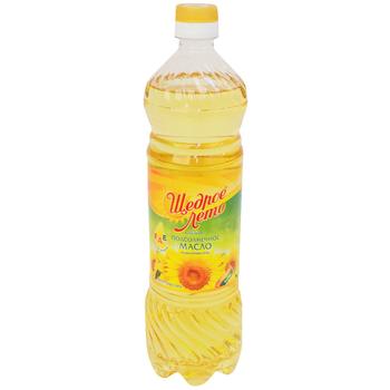 Масло подсолнечное Щедрое Лето рафинированное 0.9 л