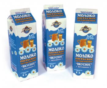 Молоко 'Вкусное' обогащенное витамином С 3,4% 1 литр - СПК Агрокомбинат Снов