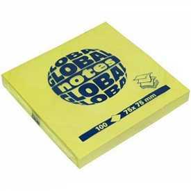Бумага на липкой основе 75х75 100л GLOBAL notes желтая