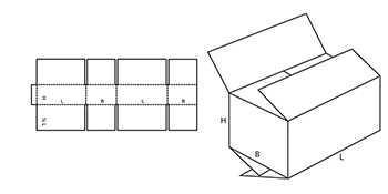 Ящик из гофрокартона четырёхклапанный со стыкующимися наружными внутренними клапанами