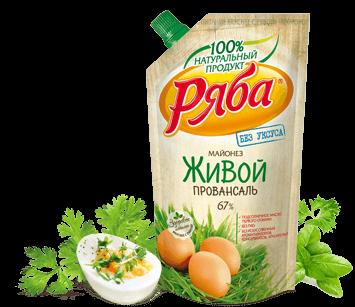 Майонез Ряба Живой Провансаль 67% жирности, 372 г - НМЖК ОАО (Россия)