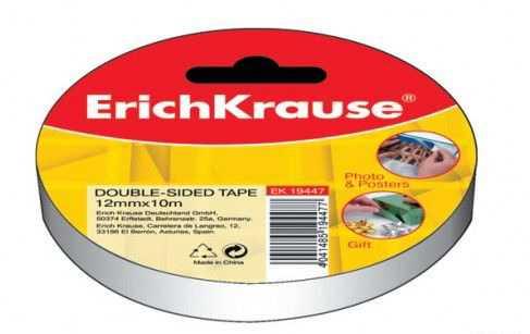 Двусторонняя клейкая скотч-лента Erich Krause 12 мм х 10 м